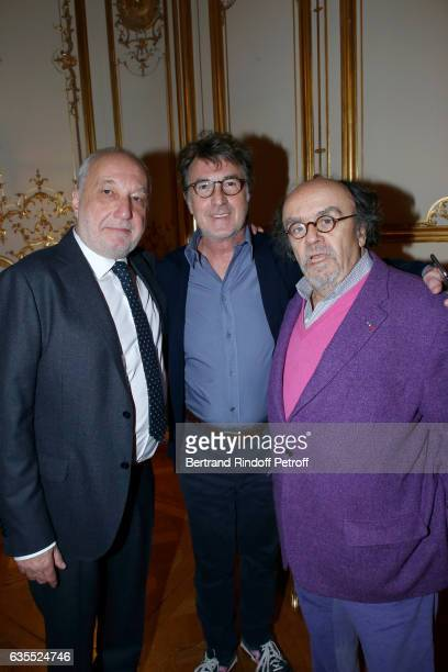 Francois Berleand Francois Cluzet and JeanMichel Ribes attend Francois Berleand is elevated to the rank of 'Officier de la Legion d'Honneur' at Hotel...