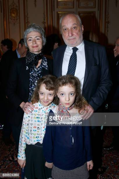 Francois Berleand his companion Alexia Stresi their twins daughters Lucie and Adele and Francois's grandson attend Francois Berleand is elevated to...