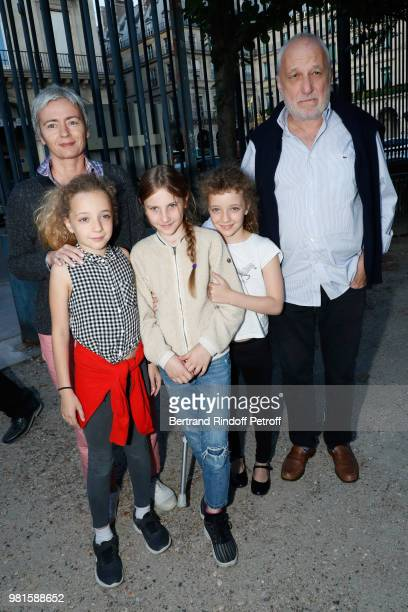 Francois Berleand, his wife Alexia Stresi, their daughters Adele, Lucie and a friend attend the Fete Des Tuileries on June 22, 2018 in Paris, France.