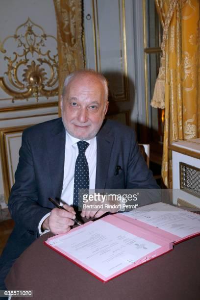 Francois Berleand is elevated to the rank of 'Officier de la Legion d'Honneur' at Hotel de Matignon on February 15 2017 in Paris France