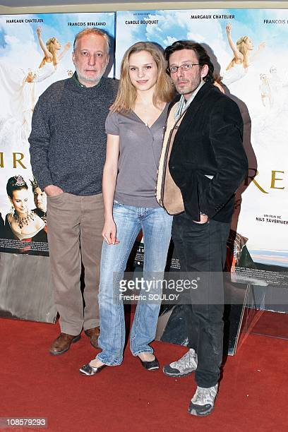Francois Berleand Margaux Chatelier and Nils Tavernier in Paris France on March 20 2006