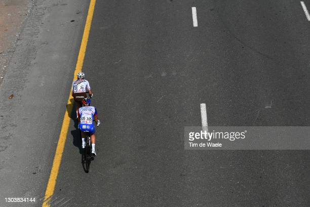 Francois Bidard of France and AG2R Citroën Team & Oliver Le Gac of France and Team Groupama-FDJ during the 3rd UAE Tour 2021, Stage 4 a 204km stage...