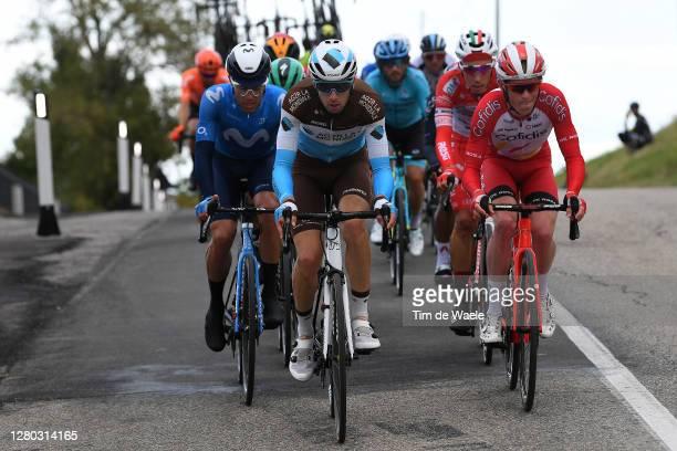 Francois Bidard of France and Team Ag2R La Mondiale / Albert Torres Barcelo of Spain and Movistar Team / Jesper Hansen of Denmark and Team Cofidis...