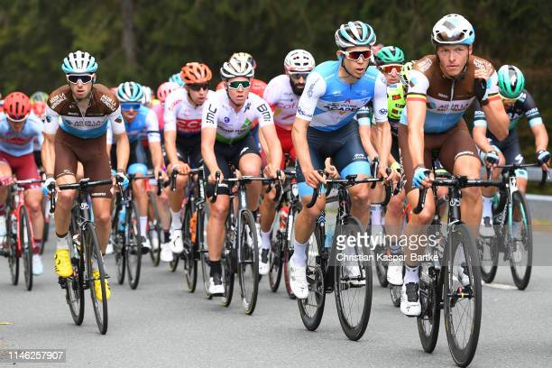 Francois Bidard of France and Team AG2R La Mondiale / Guillaume Boivin of Canada and Team Israel Cycling Academy / Oliver Naesen of Belgium and Team...
