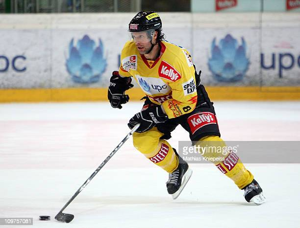 Francois Bouchard of Vienna skates with the puck during the ErsteBank EHL match between EV Vienna Capitals and Moser Medical Graz 99ers at Albert...