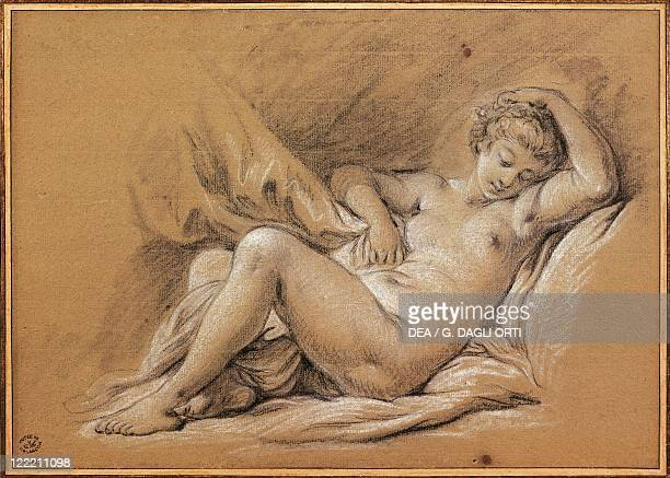 Francois Boucher Woman Nude on a Bed drawing