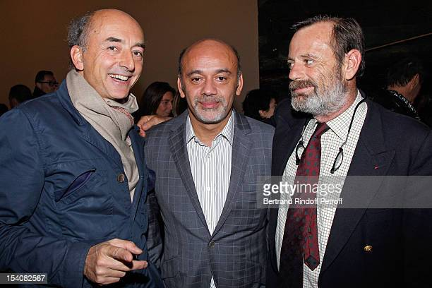 Francois Bouyer, Christian Louboutin and Louis Benech attend the opening of Thaddaeus Ropac's new gallery on October 13, 2012 in Pantin, France.