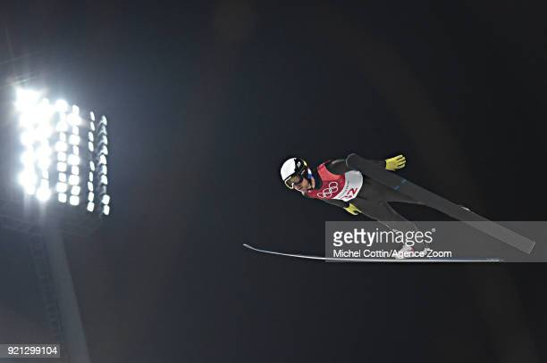 Francois Braud of France competes during the Nordic Combined Large Hill/10km at Alpensia CrossCountry Centre on February 20 2018 in Pyeongchanggun...