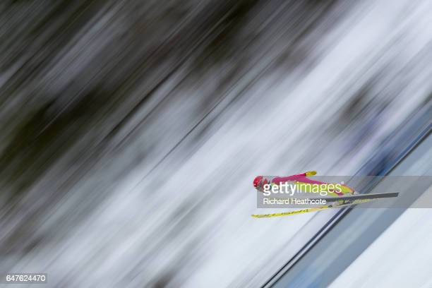 Francois Braud of France competes in the Men's Nordic Combined HS130 Ski Jumping / 2 x 75km Team Sprint Cross Country during the FIS Nordic World Ski...