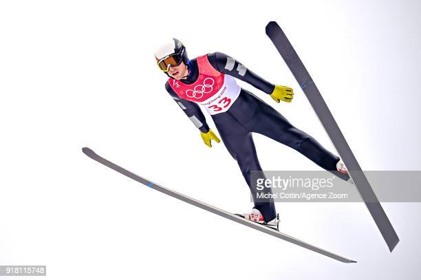 Francois Braud of France in action during the Nordic Combined Normal Hill/10km at Alpensia CrossCountry Centre on February 14 2018 in Pyeongchanggun...