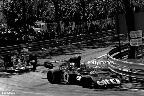 Francois Cevert Emerson Fittipaldi TyrrellFord 006 LotusFord 72E Grand Prix of Spain Montjuic circuit Barcelona Spain April 29 1973