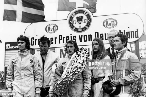 Francois Cevert Ken Tyrrell Jackie Stewart Helen Stewart Prince Metternich Jacky Ickx Grand Prix of Germany Nurburgring August 5 1973