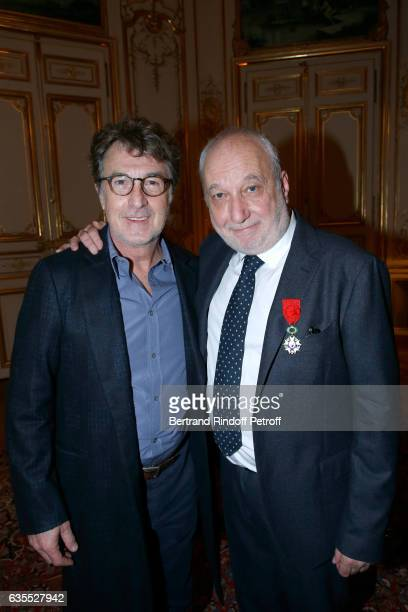 Francois Cluzet and Francois Berleand attend Francois Berleand is elevated to the rank of 'Officier de la Legion d'Honneur' at Hotel de Matignon on...