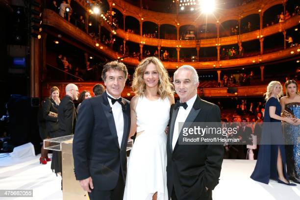 Francois Cluzet Host Cecile de France and Academy President Alain Terzian pose on stage after the 39th Cesar Film Awards 2014 at Theatre du Chatelet...