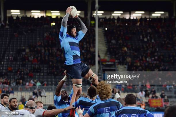 Francois Cros of the French Barbarians wins a lineout during the match between the Crusaders and the French Barbarians at AMI Stadium on June 15 2018...