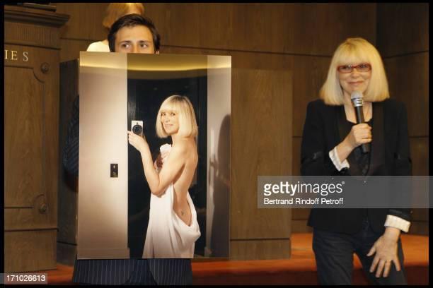 Francois Curiel Mireille Darc in front of her Nude at Christie's Auction Of Richard Melloul Photographs In Benefit Of Association La Chaine De...