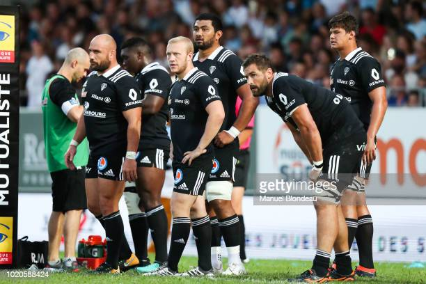 Francois Da Ros Stuart Olding and Damien Lagrange of Brive during the French Pro D2 match between Bayonne and Brive on August 18 2018 in Bayonne...
