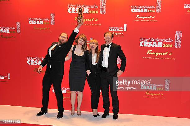 Francois Damiens Adele Haenel Katell Quillevere and Paul Hamy arrive to Le Fouquet's following the 39th Cesar Film Awards 2014 on February 28 2014 in...
