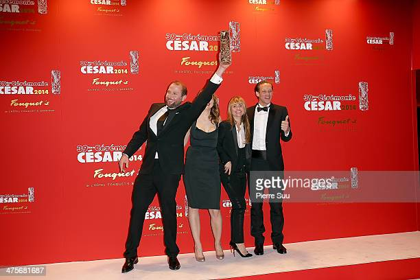 Francois Damiens Adele Haenel Katell Quillevere and Paul Hamy arrive for dinner after the 39th Cesar Film Awards 2014 at Le Fouquet's on February 28...