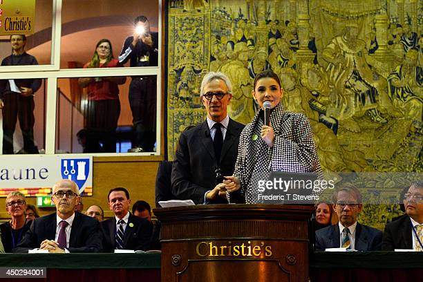 Francois de Ricgles auctioneer of Christie's poses with Clotilde Courau during the 153rd Hospices de Beaune wine auction celebration on November 17...