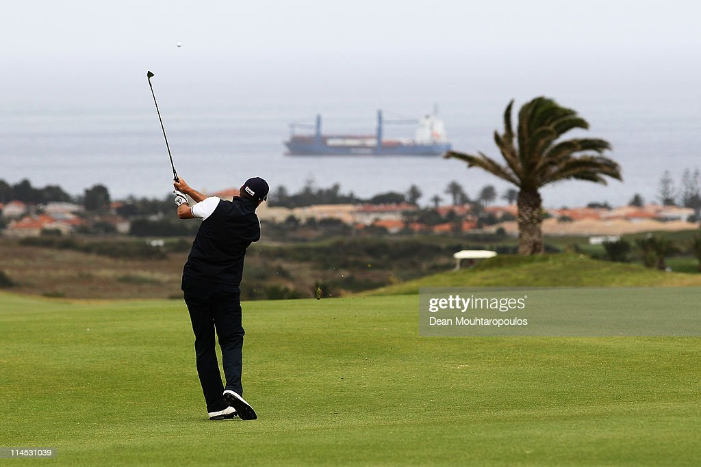 Francois Delamontagne of Fance hits his second shot on the 16th hole during the final day of the Madeira Islands Open on May 22, 2011 in Porto Santo Island, Portugal.