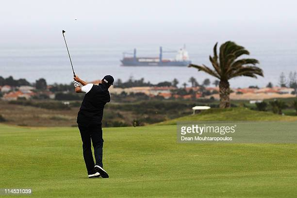 Francois Delamontagne of Fance hits his second shot on the 16th hole during the final day of the Madeira Islands Open on May 22 2011 in Porto Santo...