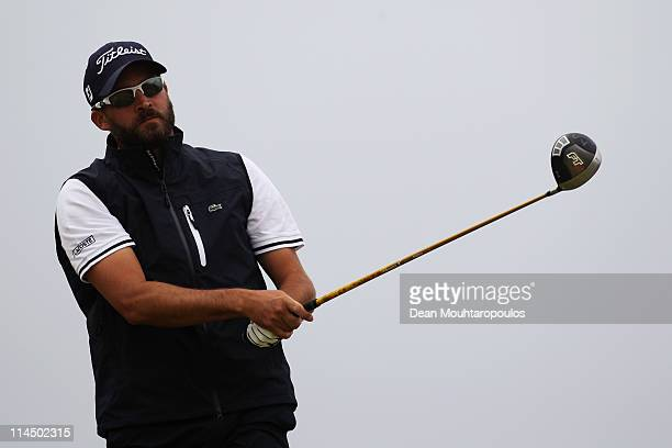Francois Delamontagne of Fance hits his tee shot on the 16th hole during the final day of the Madeira Islands Open on May 22 2011 in Porto Santo...