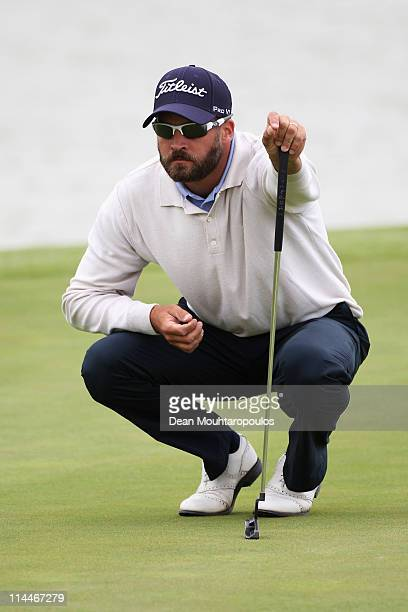 Francois Delamontagne of Fance lines up his shot on the 3rd green during day two of the Madeira Islands Open on May 20 2011 in Porto Santo Island...