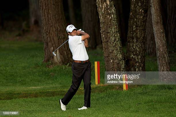 Francois Delamontagne of France hits an approach shot during the first round of the BMW PGA Championship on the West Course at Wentworth on May 20...