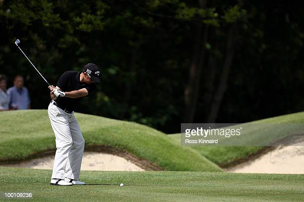 Francois Delamontagne of France hits his approach shot on the 1st hole during the second round of the BMW PGA Championship on the West Course at...