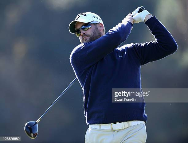 Francois Delamontagne of France in action during the first day of the European Tour qualifying school final stage at PGA golf de Catalunya on...