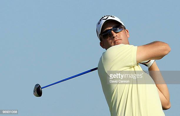 Francois Delamontagne of France plays his tee shot at the par 4 3rd hole during the second round of The Abu Dhabi Golf Championship at Abu Dhabi Golf...