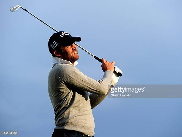 Francois Delamontagne of France plays his tee shot on the 13th hole during the second round of the Open Cala Millor Mallorca at Pula golf club on May...