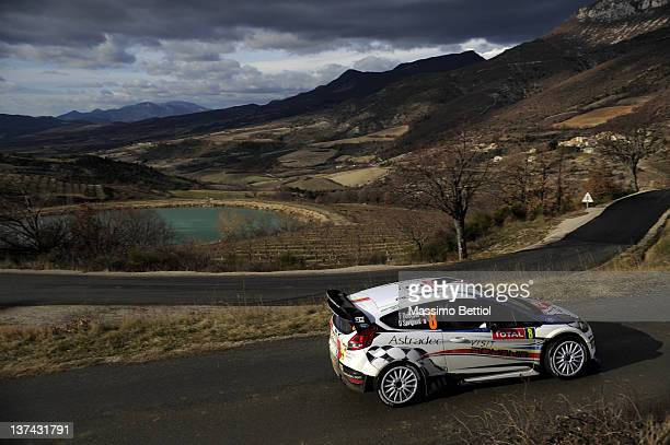 Francois Delecour of France and Dominique Savignoni of France compete in their MSport Ford WRT Ford Fiesta RS WRC during day three of the WRC Rallye...