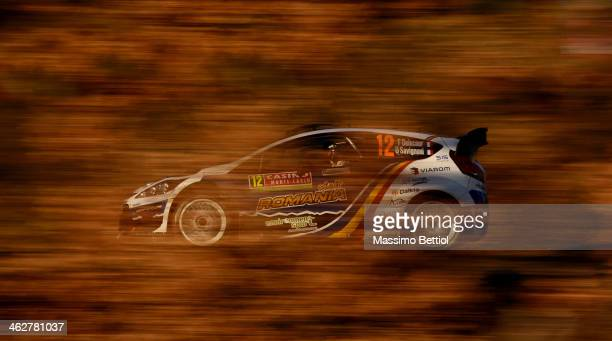 Francois Delecour of France and Dominique Savignoni of France compete in their Ford Fiesta RS WRC during the Shakedown of the WRC MonteCarlo on...