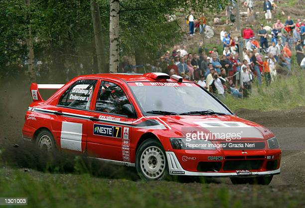 Francois Delecour of France and the Mitsubishi Lancer Evo WRC team in action during the shakedown of the Neste Rally of Finland the ninth race of the...