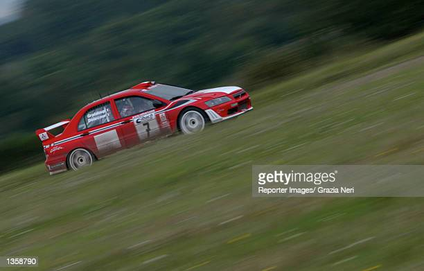Francois Delecour of France and the Mitsubishi Lancer Evo WRC team in action during the Rally of Germany the tenth stage of the World Rally...