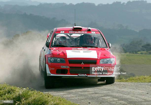 Francois Delecour of France and the Mitsubishi Lancer Evo WRC team in action during the shakedown for the Rally of New Zealand the 12th stage of the...