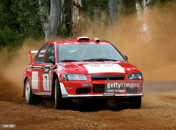 Francois Delecour of France and the Mitsubishi Lancer Evo WRC team in action during the shakedown of the Rally of Australia the thirteenth round of...