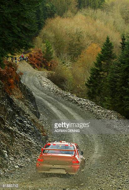 Francois Delecour of France in his Mitsubishi Lancer Evolution World Rally Car on the special stage 5 in the Trawscoed Forest of the Network Q rally...
