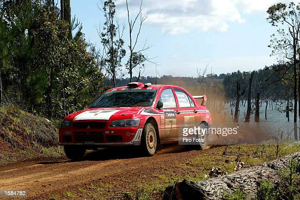 Francois Delecour of Spain in action in his Mitsubishi Lancer Evo WRC during Day 1 of the Rally Australia November 1 2002 in Perth Australia