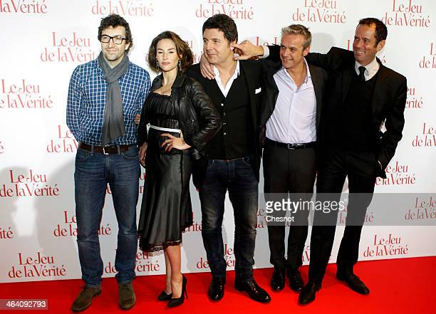 Francois Desagnat Philippe Lellouche Vanessa Demouy David Brecourt and Christian Vadim attend 'Le jeu de la verite' Paris Premiere at the Gaumont...