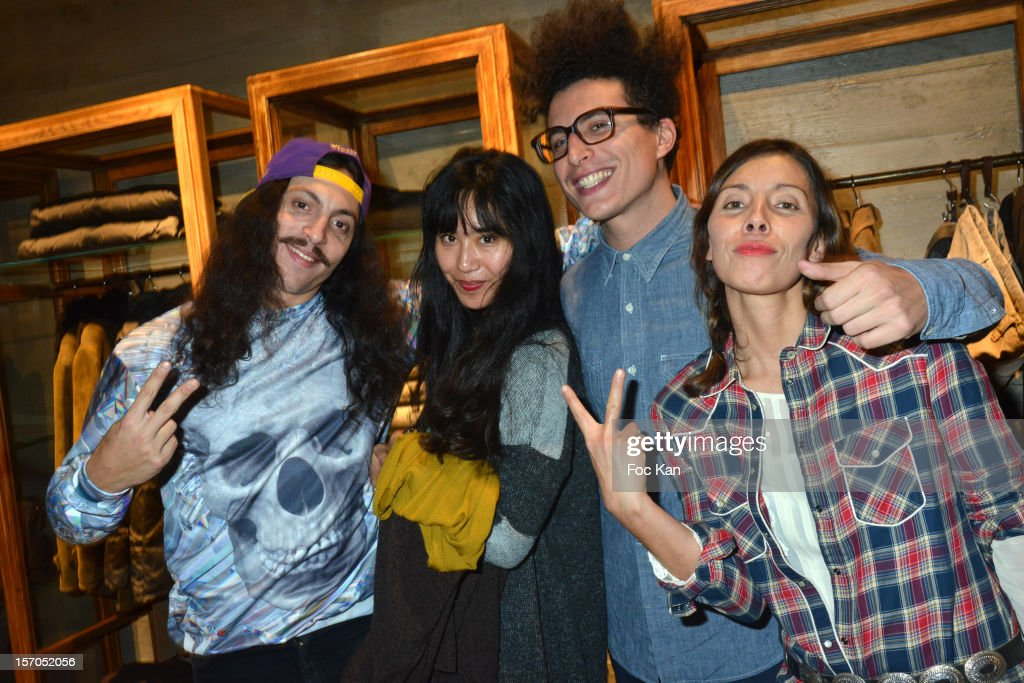 Francois Djemel, Nikki Wang, Laurent Idir from Twin Twin and Nadege Winter attend the MCS 'We The People' launch party at MCS Champs Elysees on November 27, 2012 in Paris, France.