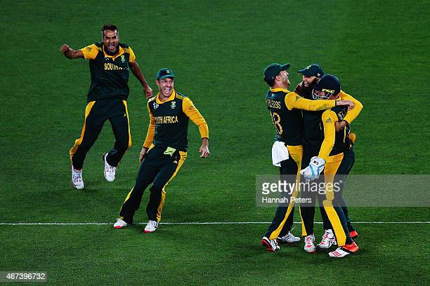 Francois du Plessis of South Africa Imran Tahir of South Africa Hashim Amla of South Africa AB de Villiers of South Africa and Quinton de Kock of...