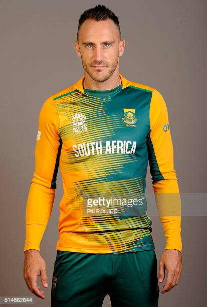 Francois Du Plessis of South Africa poses during the official photocall for the ICC Twenty20 World on March 11 2016 in Mumbai India