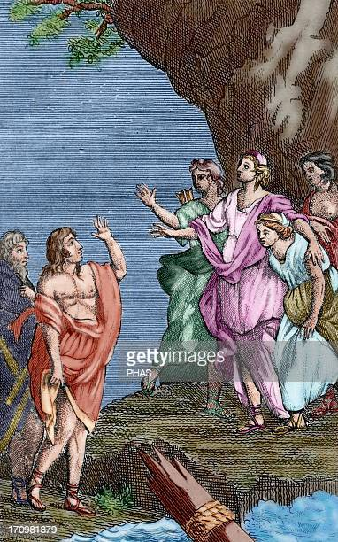 Francois Fenelon French archbishop theologian and writer The Adventures of Telemachus 1699 Colored engraving depicting Telemachus with MInerva on the...