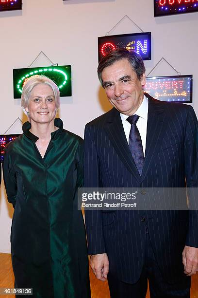 Francois Fillon and his wife Peneloppe attend the Societe des Amis du Musee National d'Art Moderne Dinner at Beaubourg on January 20 2015 in Paris...