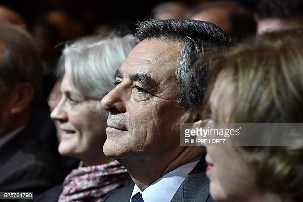 Francois Fillon candidate for the rightwing primaries ahead of the French 2017 presidential election and his wife Penelope attend a campaign rally in...