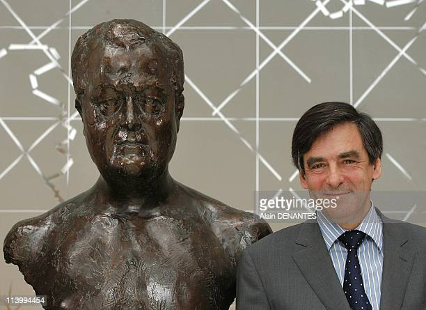 Francois Fillon inaugurates the statue in tribute to Olivier Guichard in Nantes France on June 29 2007Francois Fillon near the bust of Olivier...