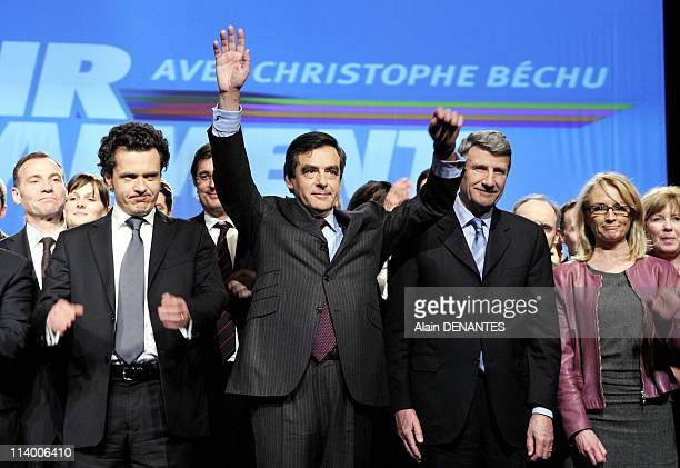 Francois Fillon supports in Nantes Christophe Bechu leading the list UMP Presidential Majority for the regional elections in Pays de la Loire In...